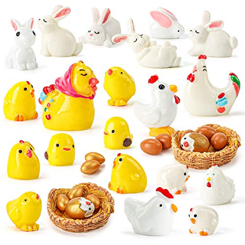 Shindel 35PCS Easter Mini Figurines, Mini Easter Bunny Chick, Garden Miniature Figurines Collection Playset for Easter Day