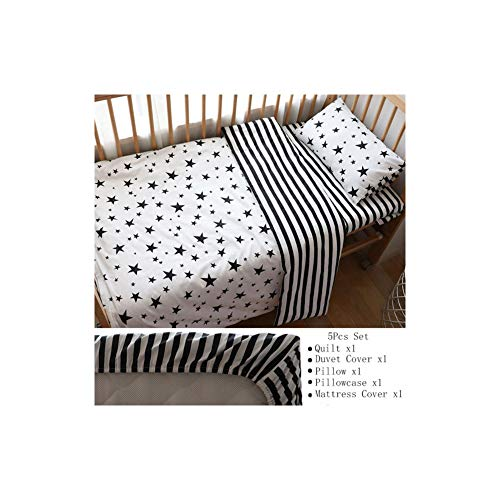 (Baby Bedding Set Nordic Striped Star Crib Bedding Set with Bumper Cotton Soft )