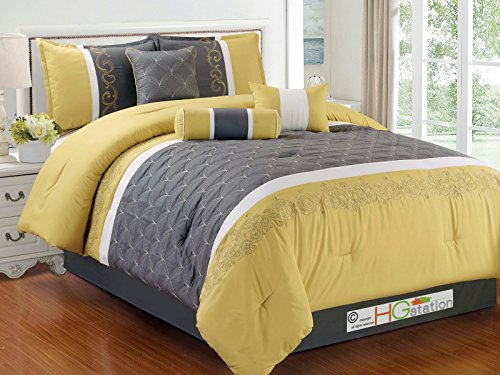 Yellow Scroll - 7-Pc Quilted Clamshell Floral Scroll Damask Embroidery Comforter Set Gray Yellow Ivory King