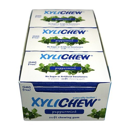 (Xylichew Gum - Peppermint - Counter Display - 12 Pieces - 1 Case)