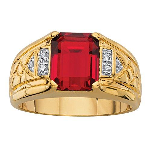 Palm Beach Jewelry Men's 18K Yellow Gold Plated Emerald Cut Genuine Red Garnet and Diamond Accent Ring Size 8 (Ascher Cut Diamond)