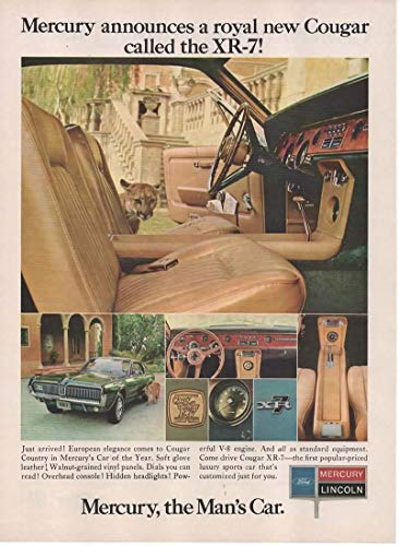 "Magazine Print Ad: 1967 Mercury Cougar XR-7,""Mercury Announces a Royal New Cougar.the Man's Car"""