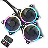 Bykski 3-Pack DC 12V 120MM 12CM 12025 LRC AURA LED Water Cooling Fan Computer Case Fan CPU Fan Rardiator Fan