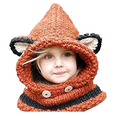 [Jenny Shop Winter Kids Warm Fox Animal Hats Knitted Coif Hood Scarf Beanies for Autumn Winter,] (Little Girl Fox Costumes)