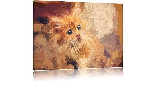 Curious de gatitos y cepillo efecto sobre lienzo, XXL enormes ...