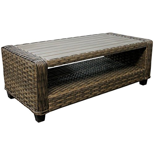 Hochwertiger-Poly-Rattan-Couchtisch-Beistelltisch-Gartentisch-Loungetisch-Polywood-Tischplatte-110x55xH40cm-braun-meliert-Loungembel-Gartenmbel-Terrassenmbel