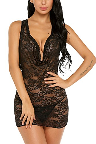 ADOME Women Lingerie Deep V Babydoll Set Lace Sleepwear Strappy Chemises Black XXL by ADOME
