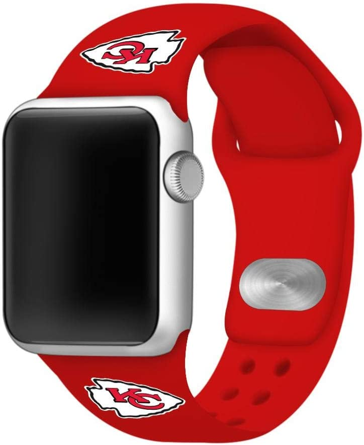 GAME TIME Kansas City Chiefs Silicone Sport Watch Band Compatible with Apple Watch- 38/40mm (Red)