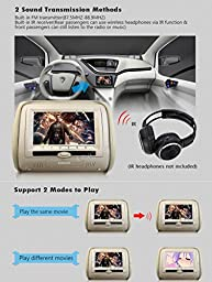 Eincar Pair 7 inch HD LCD Dual Screen Headrest monitor DVD player USB/SD/DVD/CD/MP3/MP4 Support 32 bit Games FM transmitter IR AV-in seat monitor+2 IR headphones Included!(beige)