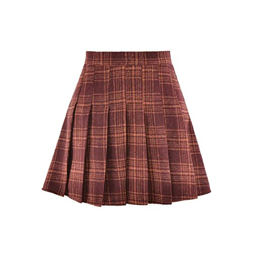 Hoerev Women Girls Versatile Plaid Pleated Skirt With Shorts For Cold Weather by Hoerev