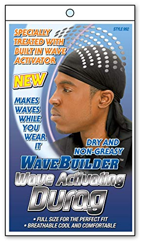(WaveBuilder Premium Hair Wave Activating Durag, Black)