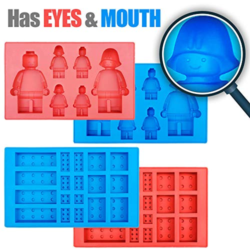 New Robot Ice Cube Tray Silicone Mold, Candy Moulds, Chocolate Moulds, for Kids Party's and Baking Minifigure Building Block Themes, Set of 4 pcs