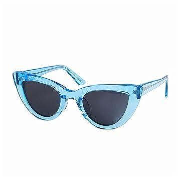 Ju-sheng Gafas de Sol de Mujer Color Transparente Único Pequeño Gato Ojos Acetato Polarizado