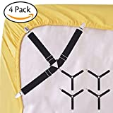 #3: Korlon 4 Pcs Bed Sheet Fasteners Sheet Holders Garters Adjustable Sheet Straps Triangle Fitted Sheet Straps for Bed Sheets, Mattress Covers, Sofa Cushion - Black