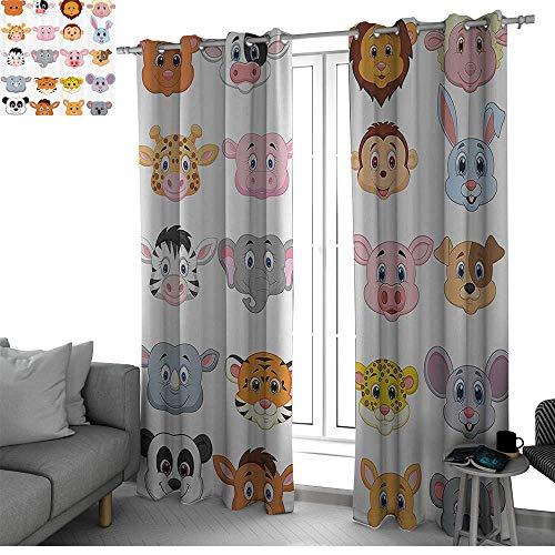 (Benmo House Cartoon Thermal Insulated Blackout Patio Door Curtain Panel Kids Decoration Baby Animals Lions Pigs Cows Farm Safari Baby Nursery Room Image Short Curtain Multicolor W108 x L96)