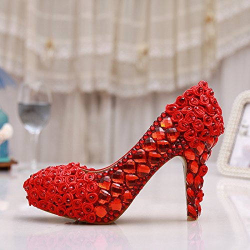 Minitoo , Semelle compensée femme Rouge - Red-10cm Heel