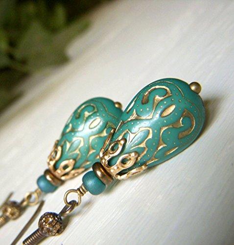 - Teal Teardrop Earrings - Brass Dangle - Vintage Inspired Lucite Etched Lightweight Bead Earrings