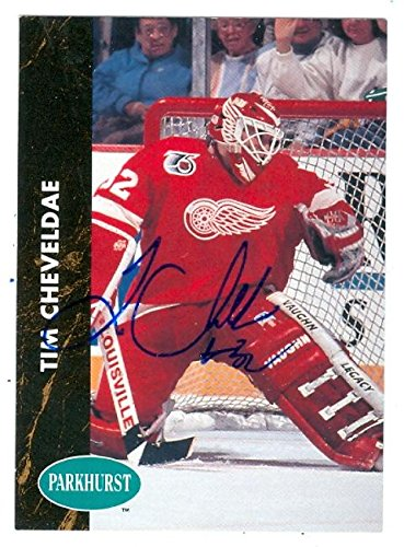 Tim Cheveldae autographed Hockey Card (Detroit Red Wings) 1991 Parkhurst #39 - Autographed Hockey Cards -