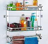 YAOHAOHAO Bathroom shelving bath rooms on a glass shelf, 304 stainless steel towel rack on a shelf, bath rooms, copy of glass on a shelf wall bracket (Color 2