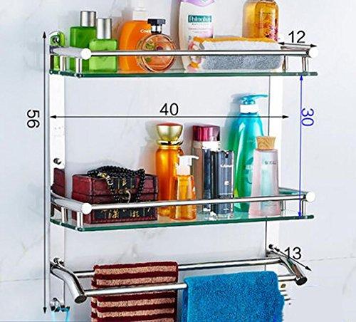 YAOHAOHAO Bathroom shelving bath rooms on a glass shelf, 304 stainless steel towel rack on a shelf, bath rooms, copy of glass on a shelf wall bracket (Color 2 by YAOHAOHAO (Image #3)