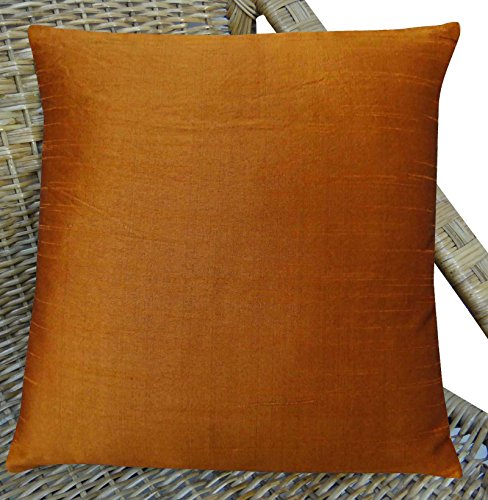Brown Bed Silk Pillow Case Dupion Silk Cushion Cover Square Decor 15 x 15 Inches (Dupion Cushion Silk)