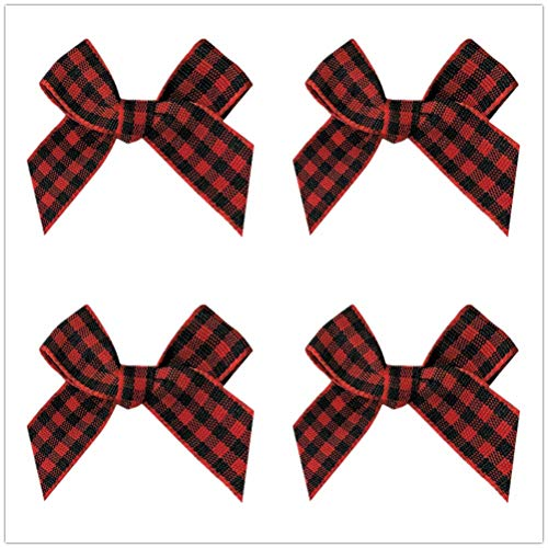 25PCS Gingham Craft Ribbon Bows Mini Checkered Ribbon Flowers Appliques for Sewing, Gift, DIY Craft, Wedding Decoration Ornament ()