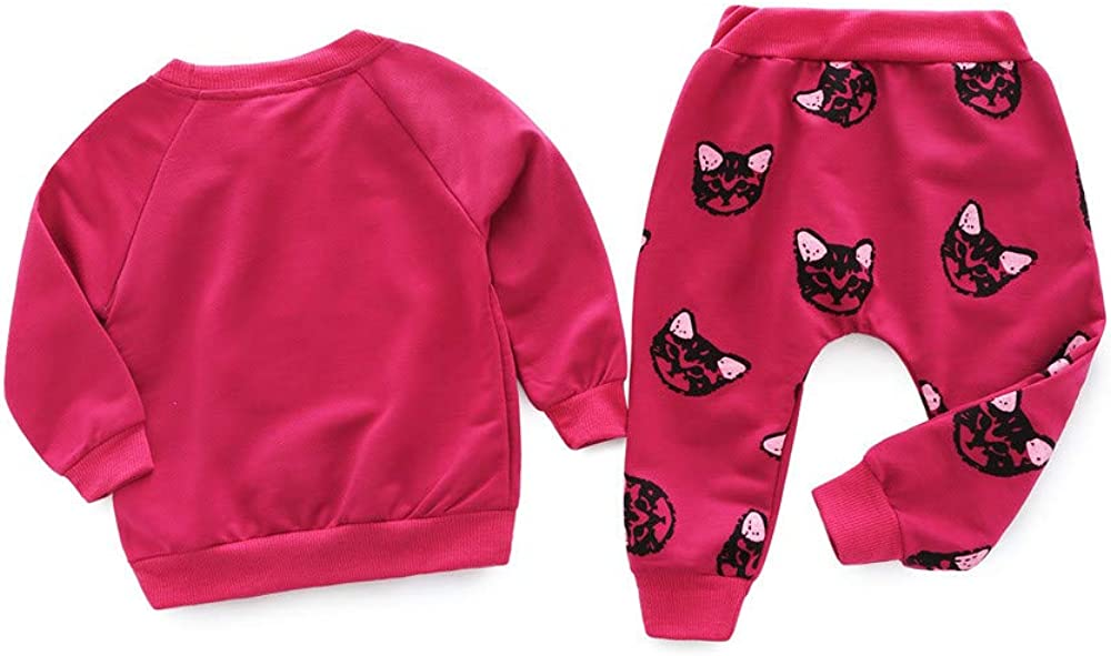 Long Sleeve Cute Cats Print Tracksuit H.eternal Girls Pajamas Red, 12-18 Months Pants Outfits Set Cotton Toddler Sleepwear Nightwear Winter Warm Sweatshirt Sweet Christmas Halloween Sweater Gift