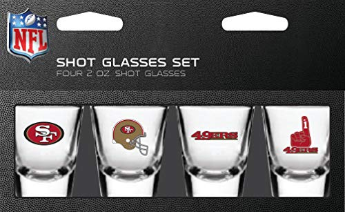 (NFL San Francisco 49ers Shot Glass Set4 Pack Shot Glass Set, Team Colors, One Size)