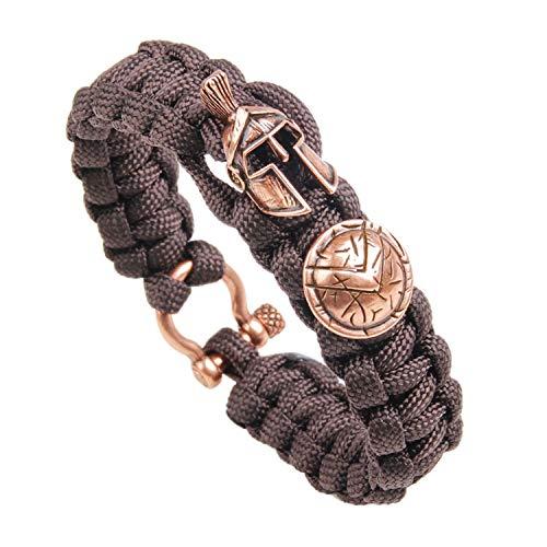 Pattern Bracelet Monet (Leving Bracelet Men's Spartan Helmet Umbrella Rope Bracelets Pulseira Masculina Skull Nylon Bracelet,Q123,20cm)