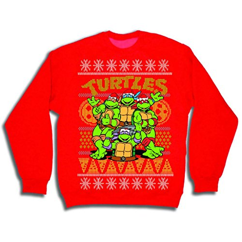 April O Neal Costumes (Teenage Mutant Ninja Turtles Men's TMNT Group and Pizza Ugly Christmas Sweater, Red, XX-Large)