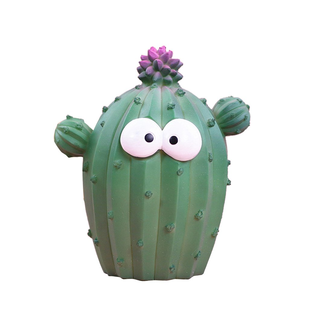Dolity Home Decorative Novelty Resin Cactus Money Boxes Cartoon Piggy Bank Kid's Birthday Xmas Gift - Dark Green L, as Described