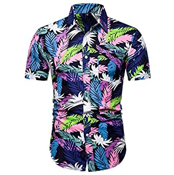 ♛2019 Clearance Sale♛ - Chamery Summer Shirt for MenFashion Men's Casual Button Hawaii Print Beach Short Sleeve Quick Dry Top Blouse(Multi Color,L)