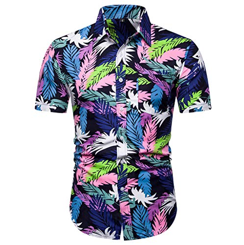 iHPH7 Top Blouse Fashion Casual Button Hawaii Print Beach Short Sleeve Quick Dry Men (M,Multi Color)