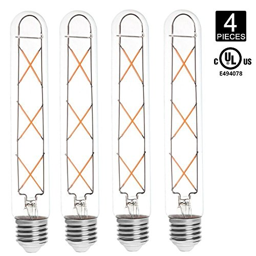 HERO-LED T9-DS-6W-WW27 Dimmable T9 E26/E27 6W Tubular Style LED Vintage Antique Filament Bulb, 60W Equivalent, Warm White 2700K, UL-Listed, 4-Pack