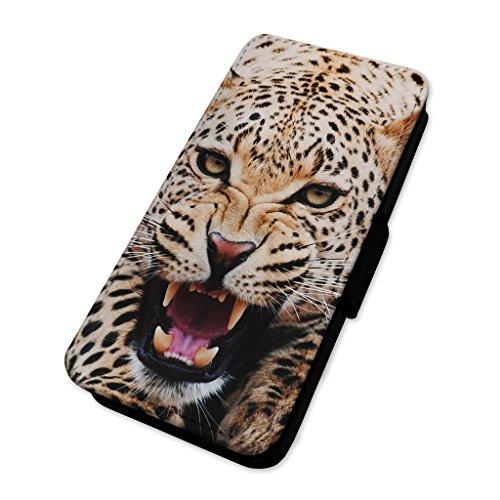 Leopard Cat denti–Custodia ad aletta in pelle copertura di carta Apple Iphone 8