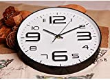 Foxtop 12 inch Silent Non-Ticking Quartz Decorative Wall Clock Battery Operated with Arabic Numbers Display White Dial Black Frame