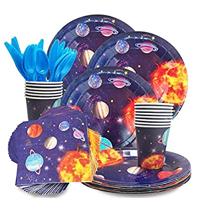 CIEOVO Outer Space Party Supplies - Serves 24 Guest -Includes Plates, Knives, Spoons, Forks, Cups Napkins Perfect Outer Space Birthday Party Pack for Kids Solar System Planet Themed Parties: Toys & Games