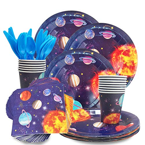 CIEOVO Outer Space Party Supplies - Serves 24 Guest -Includes Plates, Knives, Spoons, Forks, Cups Napkins Perfect Outer Space Birthday Party Pack for Kids Solar System Planet Themed Parties -