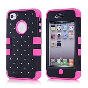 LIMME- 2014 new 3 in 1 Combo Case Glitter/bling Studded Diamond Dual Layer Pc&silicone Protective Case for iPhone 4/4s