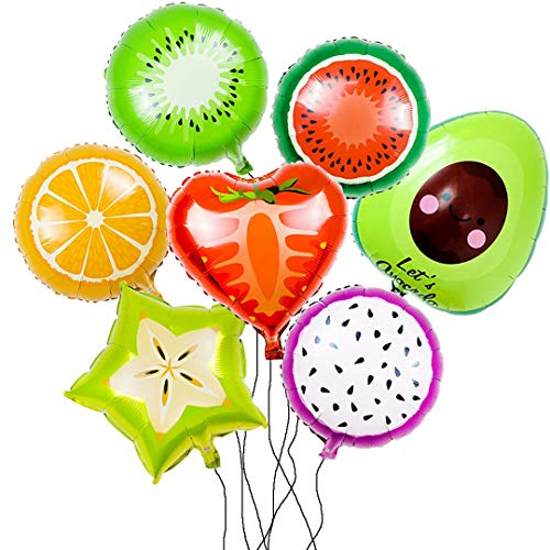 Balloon Set with Large 7 Pieces of Frutes for Party and Shop Decoration.Watermelon,Orange,Kiwi,Strawberry,Pitaya,Avocado,Averrhoa.Yummy Style for Birthday Party Etc.All in Ánimo Balloon. -