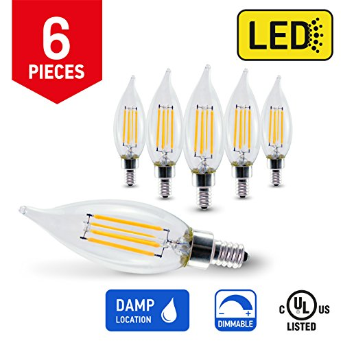 IN HOME LED FILAMENT BULB CA10, 4W (40W Equivalent), 400lm, Dimmable, 2700K (Warm white), Candelabra Base E12, CR80+, (6 Pack), UL listed