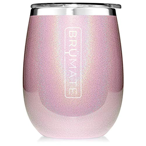 (BrüMate Uncork'd XL 14oz Wine Glass Tumbler With Splash-proof Lid - Made With Vacuum Insulated Stainless Steel (Glitter Blush))