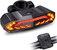 Onvian Smart Bike Tail Light with Turn Signals, Bike Horn Bike Alarm with Remote, Rechargeable Rear Bike Light