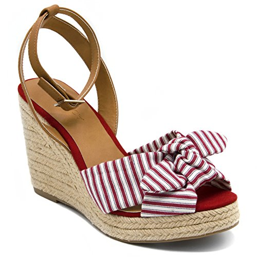Nautica Women's Curia Espadrille Wedge Sandals with Stripe Bow-Red-8