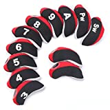 Summer House 12 Pcs Waterproof Golf Iron Head Covers 3-9 A/S/P/Lw/Lw Oversize Soft Pu fit Taylormade M1 Callaway Titleist AP2 Ping G Cobra PXG 0311 / 0311T etc Iron Sets Head (Neoprene-Red)