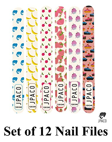 12 PCS Cute Girly Nail Files - 120/240 Grit Size