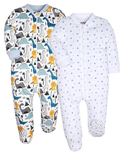 HONGLIN Baby Unisex 2-Pack Footed Baby Pajamas Sleepers Rompers 100% Cotton with Non-Slipping Sole (3-6 Months, DNS/Star)