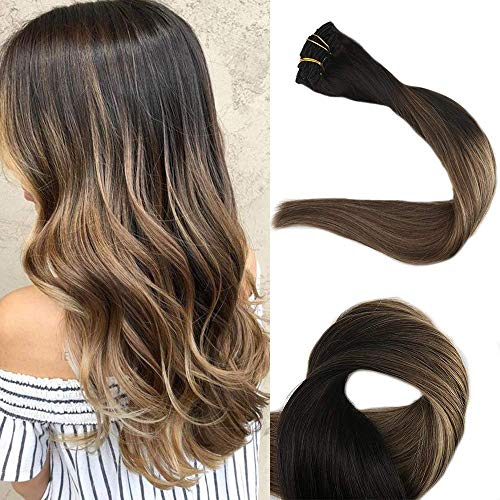 Full Shine 22 inch Balayage Human Hair Extensions Remy Clip in Hair Extensions Color #1B Off Black Fading to #6 and #27 Honey Blonde 10Pcs Per Set 120gram ()