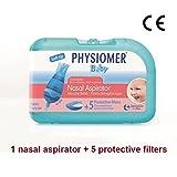PHYSIOMER Baby Nasal Aspirator + 5 Protective Filters No Bisphenol A No Phtalates CE Marked