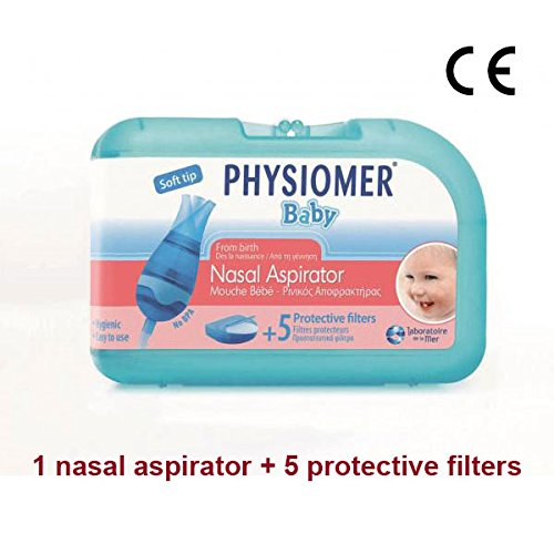 PHYSIOMER Baby Nasal Aspirator + 5 Protective Filters No Bisphenol A No Phtalates CE Marked by Physiomer
